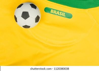 "SÃO PAULO, BRAZIL - JUNE 23, 2018: The national symbol or logo of the Brazilian soccer team called ""CBF"" and soccer ball. Football Editorial Image concept."