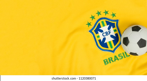 "SÃO PAULO, BRAZIL - JUNE 23, 2018: The national symbol or logo of the Brazilian soccer team called ""CBF"" and soccer ball. Football Editorial Image concept."