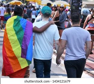 SÃO PAULO, BRAZIL - JUNE 23th, 2017 - Polyamory group marches at the annual LGBT pride parade