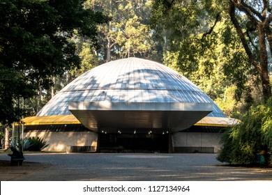 São Paulo, Brazil, June 25, 2018. Facade of the Planetarium Aristotle Orsini in Ibirapuera Park. Opened in 1957