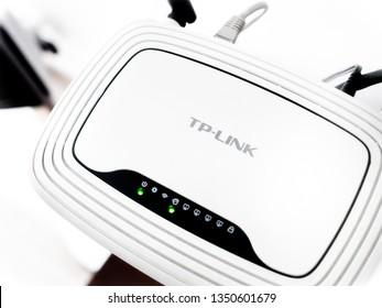 São Paulo, São Paulo - Brazil. Mar. Sirca - 2019. WiFi Router white brand TP-Link two before in one apartment room.