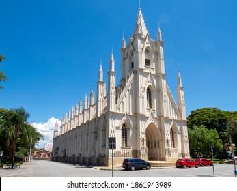 Taubaté, São Paulo, Brazil - November 25, 2020 - Sanctuary of Santa Terezinha, the largest church in Taubate. neo-gothic style