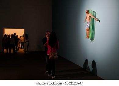 São Paulo, São Paulo, Brazil - November 26, 2014: Exhibition by Ron Mueck at the Pinacoteca Museum in São Paulo.