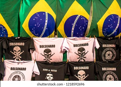 São Paulo, Brazil, October 28, 2018. t-shirts of support to President-elect Jair Bolsonaro and Brazil flags