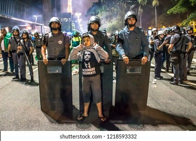 São Paulo, Brazil, October 28, 2018. Supporters celebrate Bolsonaro victory in São Paulo - Supporters of President-elect Jair Bolsonaro celebrate the candidate's victory at the Paulista Avenue.