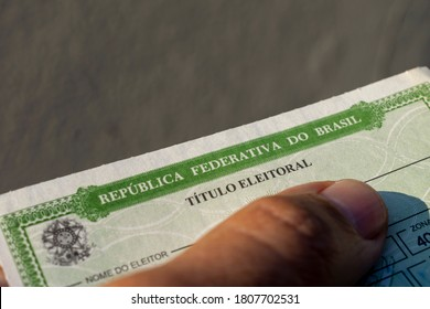 São Paulo, Brazil - September 2, 2020: detail of the title of Brazilian voter (título eleitoral). In 2020, municipal elections will take place throughout Brazil. selective focus. electoral justice