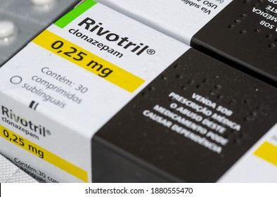 São Paulo, SP, Brazil - 12 December 2020 - Rivotril Clonazepam pills anxiety and depression drug editorial image