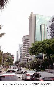 São Paulo, SP - Brazil. April, 13, 2019. Photograph of Horácio Lafer Avenue located in the district of Itaim Bibi in the city of São Paulo.
