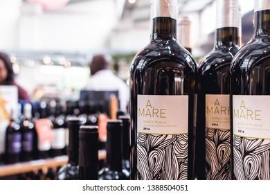 São Paulo, SP - Brazil. April, 14, 2019.  A.Mare Bianco Puglia. Photograph of white wine A.Mare Bianco Puglia. Photograph realized in the Italian gastronomic market Eataly in São Paulo - SP / Brazil.