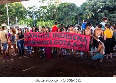 São Paulo, SP / Brazil - January 01, 2019: Indigenous people protesting for their rights at MASP on Avenida Paulista. Concept of feminism, genocide, women, fight, resist and justice.