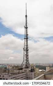 SÃO PAULO, SP, BRAZIL - JANUARY 10, 2020: View of one of the most recent towers of the Paulista region, which houses digital TV antennas, radio and other radiocommunication services.