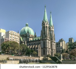 São Paulo, SP/ Brazil - July 8, 2018: Sé Cathedral seen from a side angle