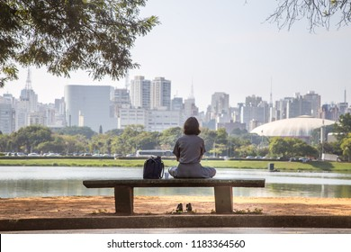 São Paulo, SP, Brazil - June 27, 2018: Back view of a lonely girl sitting on a bench in  front of lake with the city in the background. Parks, nature, lifestyle, places, health is the concept
