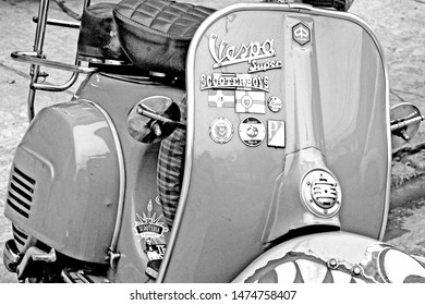 São Paulo/SP/Brazil - 10-23-2016 - Old Vespa Piaggio motorcycle. Scooter Detail front view of the Vespa Piaggio motorcycle. Italian made scooter.