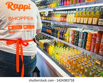São Paulo/SP/Brazil - June 05th 2019: Personal Shopper from Rappi Company (A Colombian Startup) Working in Eataly - Italian Gastronomic Center Located in Itaim Bibi Neighborhood in São Paulo