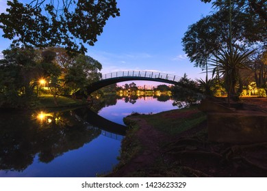 São Paulo/SP/Brazil - May 31th 2019: Romantic Bridge During Sunrise in Ibirapuera Urban Park (Parque do Ibirapuera), a Listed Heritage of  São Paulo City.