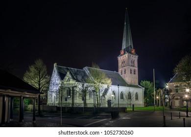 Pauluschurch Baarn in the evening (the Netherlands)