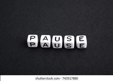 Pause minimalism card.  A series of phrases and words. Horizontal long format banner composition