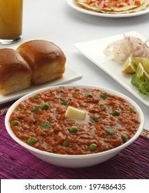 Pav Bhaji  on table setting, Indian food, Mumbai food