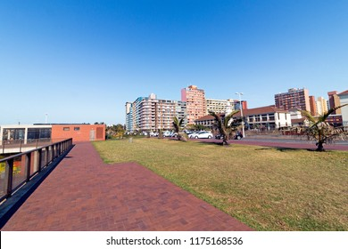 The paved brick pathway leading up to the buildings on Durban beach front