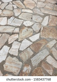 paved courtyard with concrete between stones