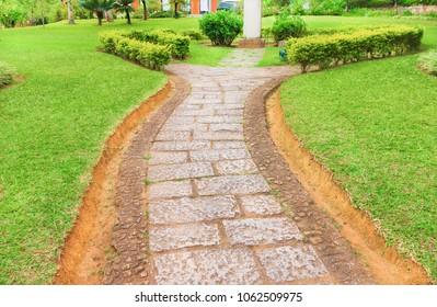 Paved path of stones in the garden
