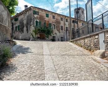 Paved ramp leading to the main square of the village of San Giorgio di Valpolicella a fraction of the municipality of Sant'Ambrogio di Valpolicella, in the province of Verona. italy