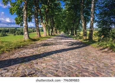 Paved road in Masuria region of northeastern Poland