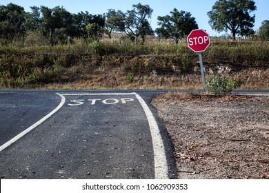 paved road with STOP