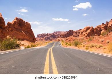 Paved road through Red Canyon, Utah, United States