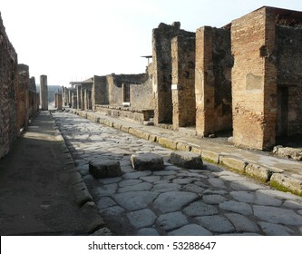 Paved street at the ancient Roman city of Pompeii, which was destroyed and buried during the eruption of Mount Vesuvius in 79 AD