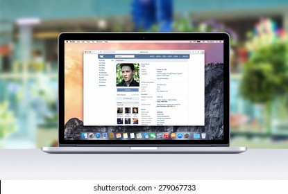 Pavel Durov Vkontakte social network web page in Safari browser on the Apple 15 inch MacBook Pro Retina screen. Blurred shopping center on the background. Varna, Bulgaria - November 03, 2013.