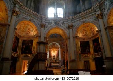 Pavia, Italy - 05 18 2019:Interior lights of the church