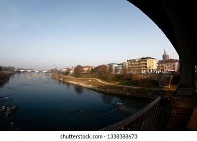 Pavia, Italy - 10-02-2019: Pavia and its Ticino river