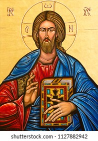 """Pavia, Italy. 13 February 2017. The icon of Jesus Christ the ruler of the world """"Pantocrator"""" in Duomo di Pavia (Pavia Cathedral)"""