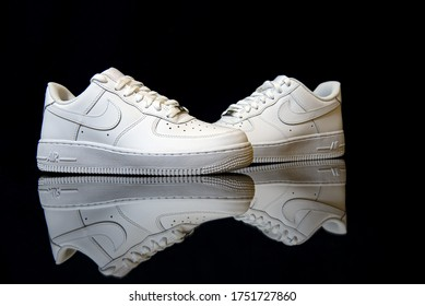 Pavia, Italy - April 5, 2020: Nike Air Force One shoes studio shot - illustrative editorial