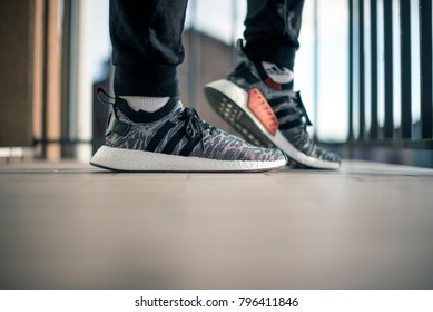 Pavia, Italy - January 17, 2018: Adidas NMD_R2 PK indoor
