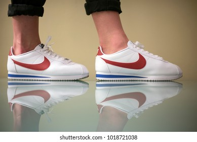 purchase cheap 03b5c 22ab8 Pavia, Italy - January 24, 2018  Man wearing a pair of Nike Cortez