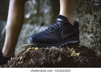 Pavia, Italy - July 8, 2018: Man wearing a pair of Nike Air Max Performance outdoor