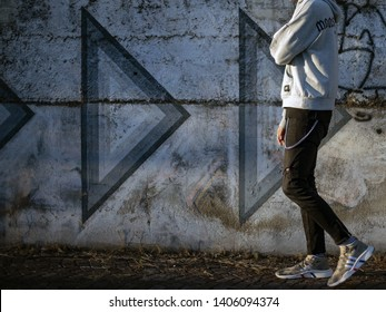 Pavia, Italy - May 21, 2019: Man wearing a pair of Adidas Equipment Support Mid ADV PK