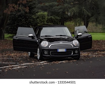 Pavia, Italy - November 10, 2018: View of a BMW Mini Cooper One D, 2013 model