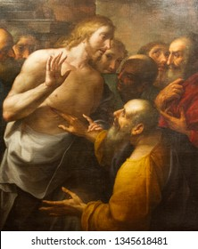 Pavia, Italy. November 11 2017. The painting of the Resurrected Jesus Christ and the incredulous apostle Thomas by Antonio Busca (1625-1684). Currently in Castello Visconteo.