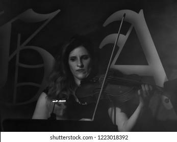 Pavia, Italy - October 31, 2018: German symphonic metal musical group HAGGARD performs at Dagda Live Club. Brambilla Simone Live News photographer
