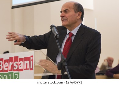 PAVIA, ITALY - OCTOBER 31: Pier Luigi Bersani, candidate for prime minister in forthcoming Italian elections 2013, during Democratic Party primary election on October 31, 2012 in Pavia, PV, Italy.