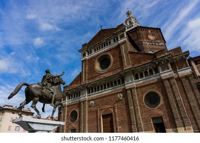 Pavia, Lombardy, Italy - September 02, 2018: Renaissance Catholic Cathedral of Pavia (Duomo di Pavia) in a cloudy day