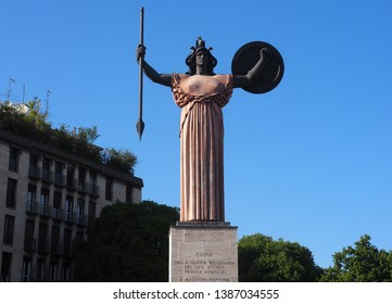 Pavia, Lombardy, Italy,1 may 2019: Statue of Minerva. Minerva of Pavia was completed in 1938 by Italian sculptor Francesco Messina