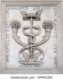 PAVIA, PV, ITALY - CIRCA JUNE 2014: Andrea Alciato emblem at the University circa June  2014 in Pavia, PV, Italy. Inscription in Greek means: the fruit of the righteous man does not perish.