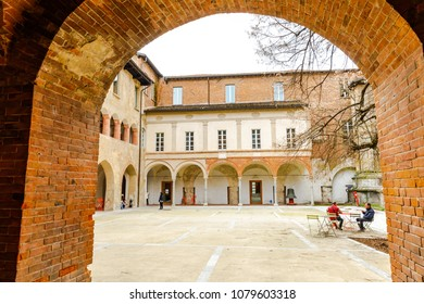 PAVIA,LOMBARDY,ITALY-APRIL 8,2018: Ancient buildings around cathedral of pavia. Major tourist attractions in northern Italy.