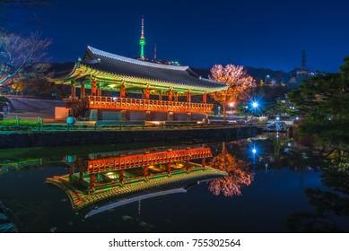 the pavilain in night at namsangol hanok  village seoul korea