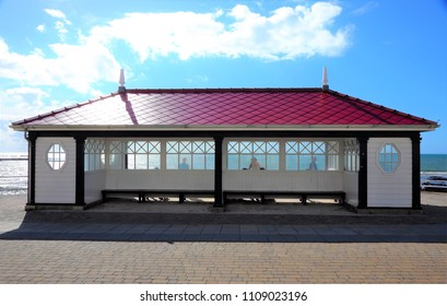 Pavilion above the beach of welsh coastal town Aberystwyth (United Kingdom), 8-28-2015